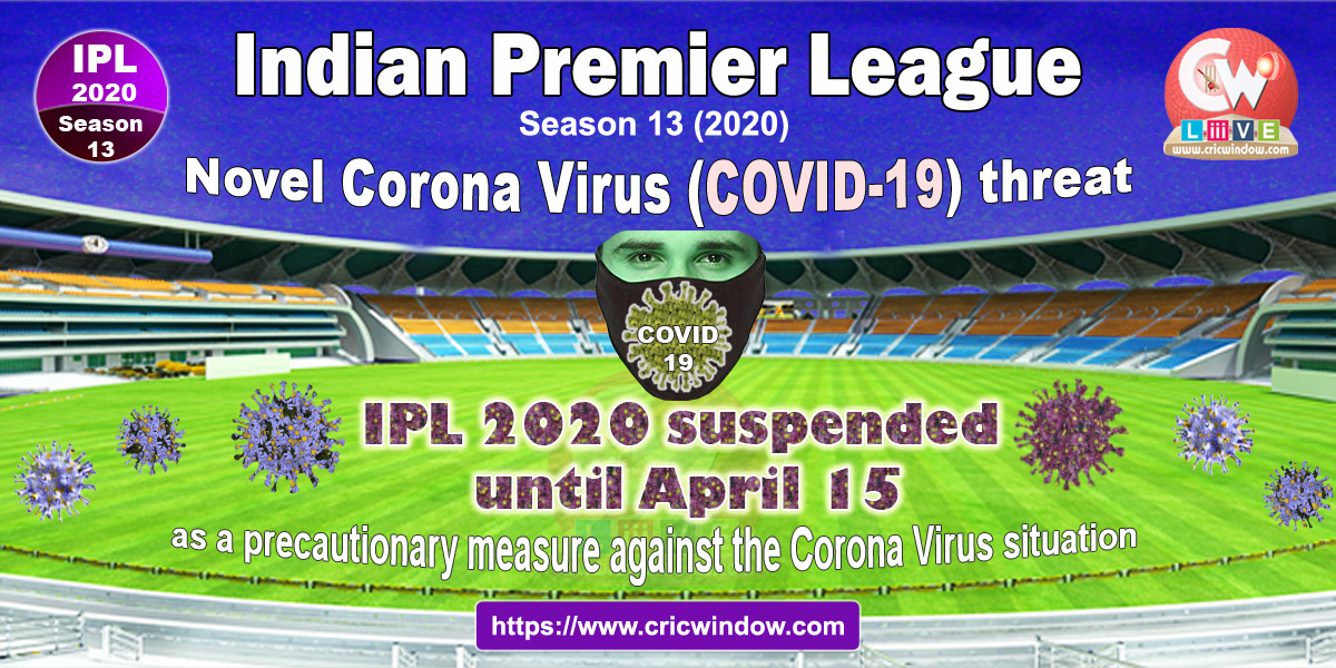 CORONA threat : IPL suspended till April 15