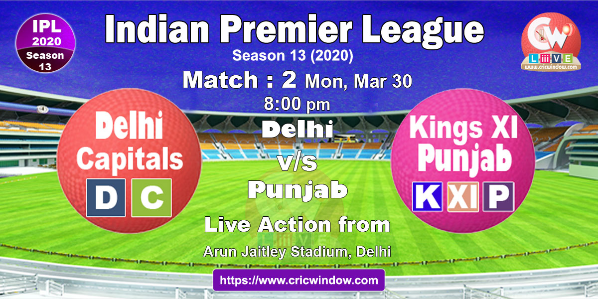 ipl match2 : dc vs kxip live stream video