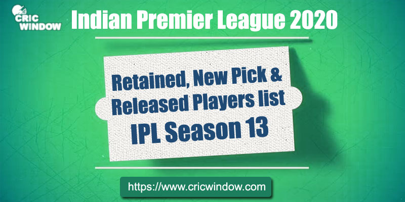 IPL Retained and Released Players List 2020