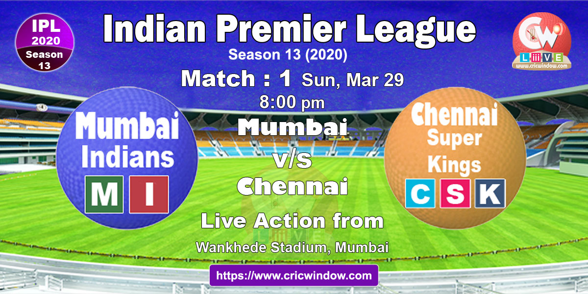 ipl match1 : mi vs csk live stream video