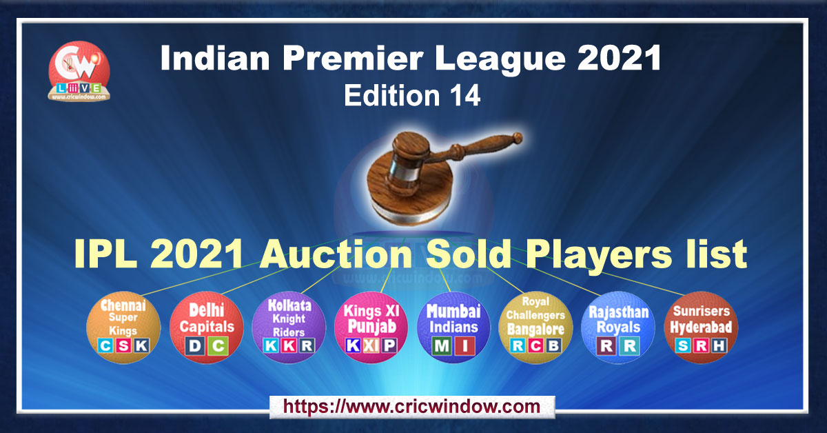 IPL Auction Sold Players List