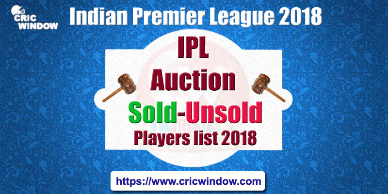 IPL 2018 Auction Sold-Unsold Players List