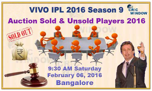IPL Auction 2016 sold and unsold players list