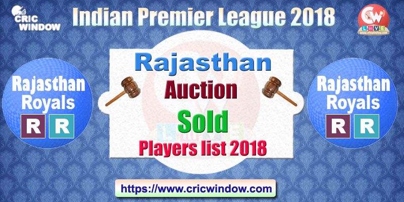 IPL Rajasthan Auction sold and unsold players list 2018