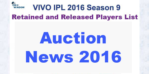 Retained and Released Players List IPL 2016