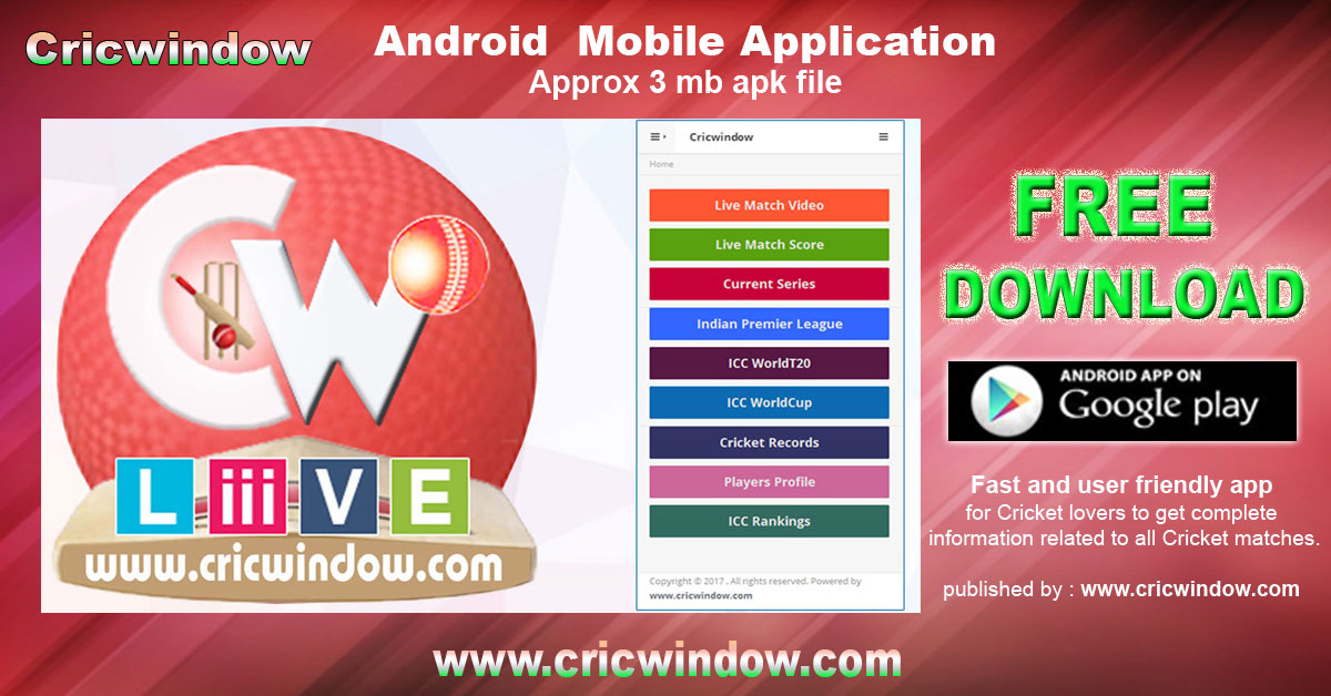 Cricwindow mobile app