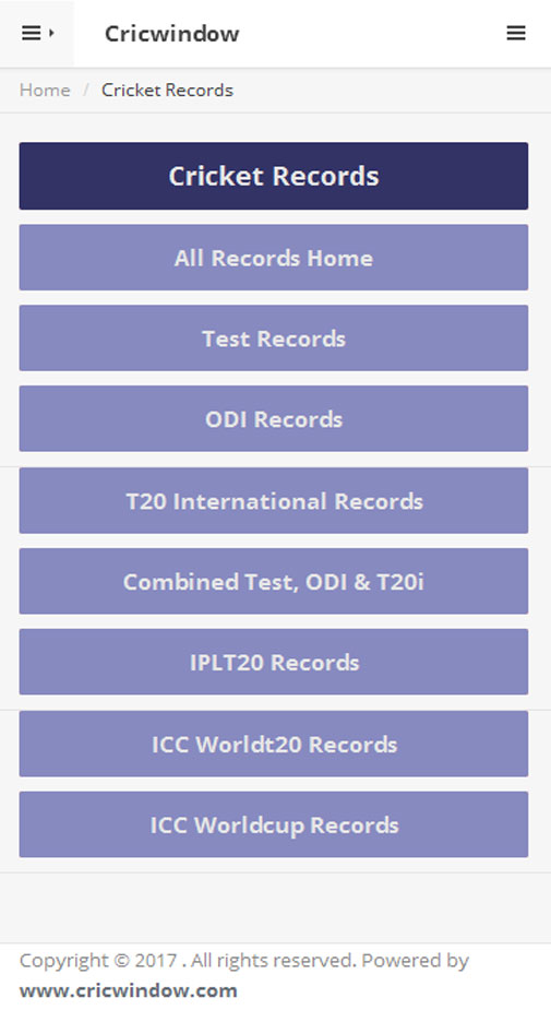 Cricwindow Mobile Application Records page