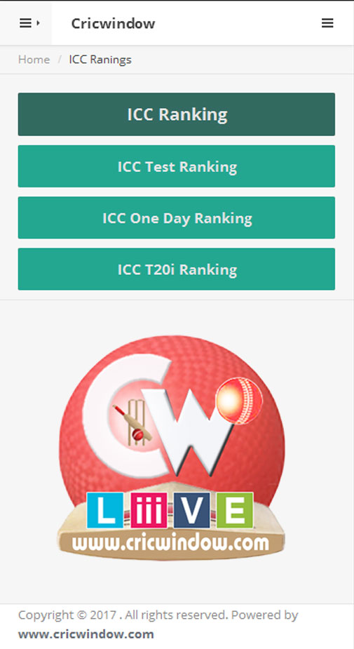 Cricwindow Mbile Application ICC Ranking Page