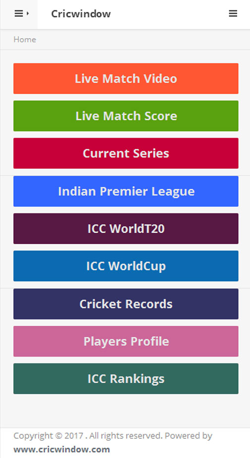 cricwindow mobile app main page
