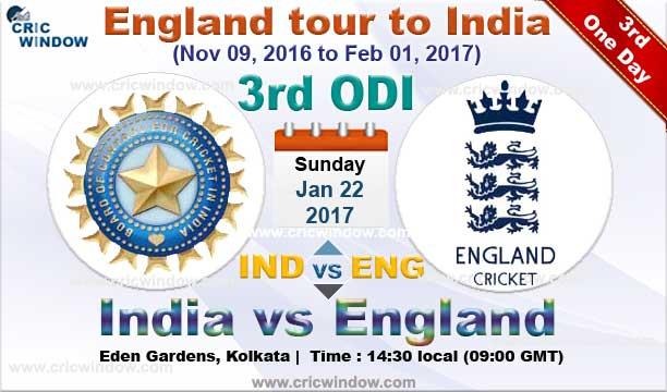 3rd ODI : India Vs England Match News & Report Series 2016