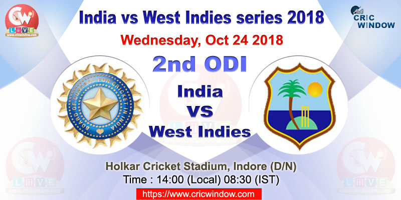India vs West Indies 2nd one-day live