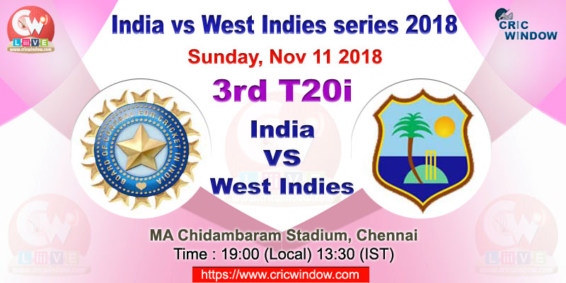 3rd t20i India vs West Indies live action