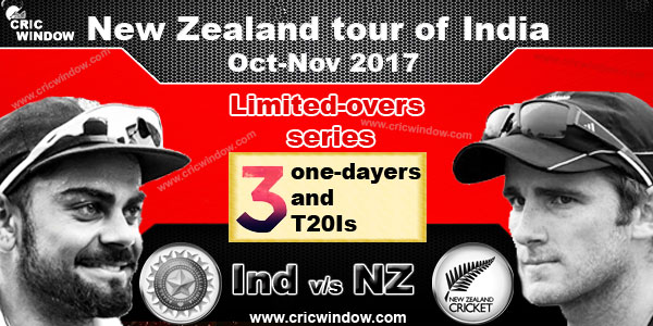 New Zealand tour of India for ODI and t20i Series 2017