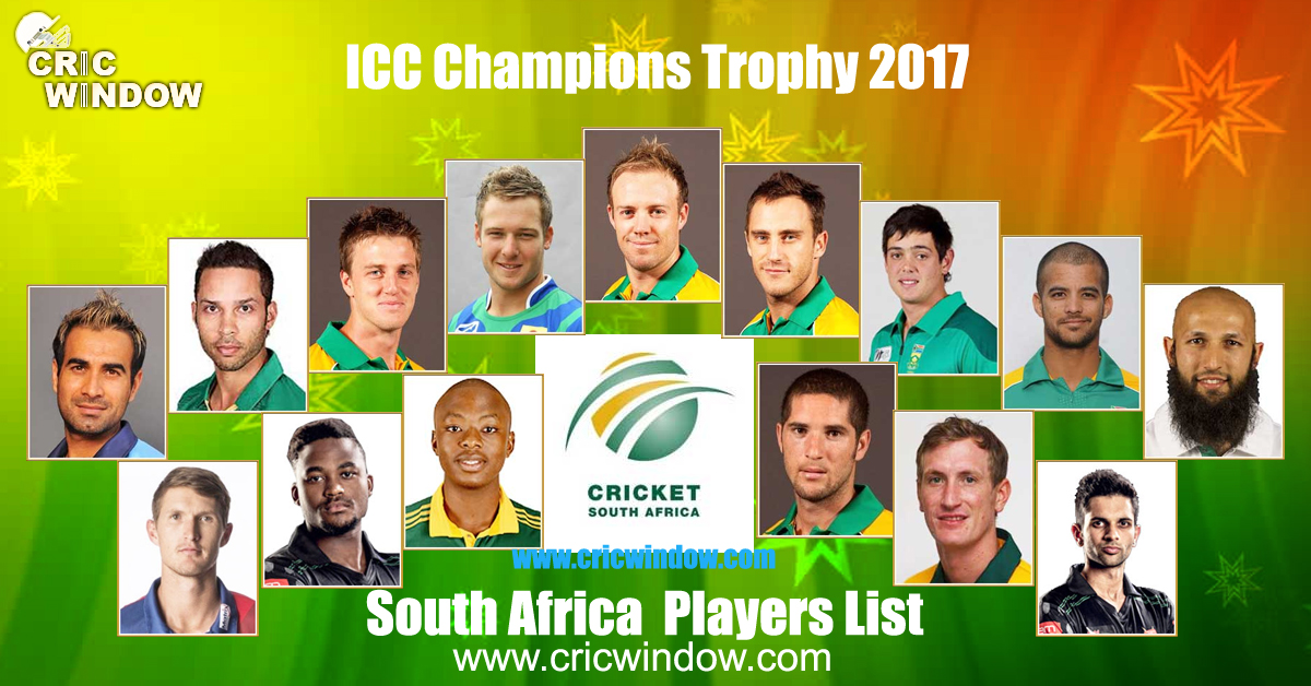 South Africa squad for champions trophy 2017