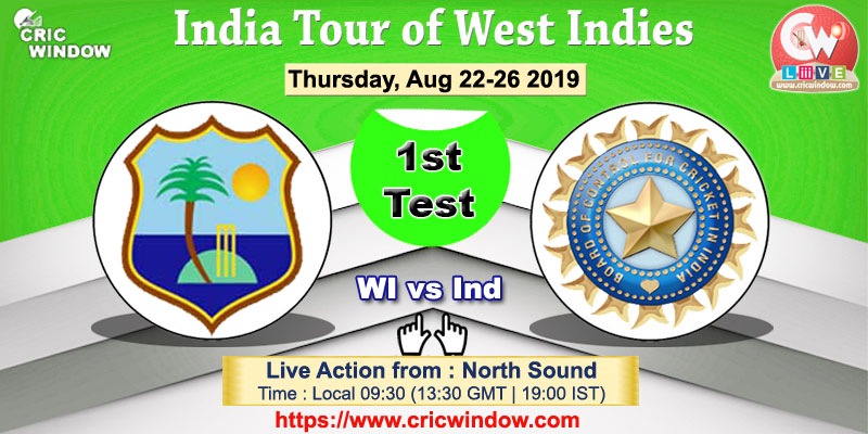 1st Test : West Indies vs India live action