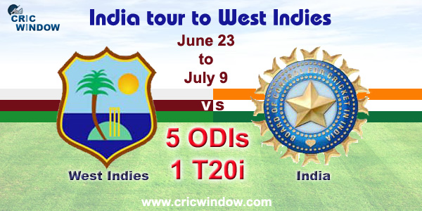 WI vs Ind 5 ODIs & one-off t20i series 2017