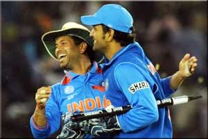 Tendulkar with India 2011 World Cup winner