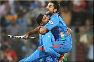 Virat Kohli with India 2011 World Cup winner