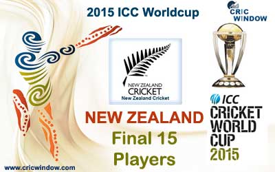 New Zealand final 15 squad for icc worldcup 2015