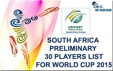 South Africa 30 probables fo worldcup 2015