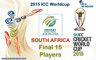 South Africa final 15 squad for icc worldcup 2015